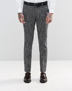 Черно-белые фактурные брюки слим ASOS - Темно-синий