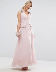 Шифоновое платье макси со складками и отделкой Little Mistress - Розовый