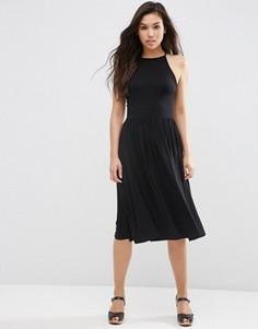 Платье миди с завышенной талией ASOS - Черный