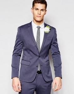Синий облегающий пиджак ASOS Wedding - Серый