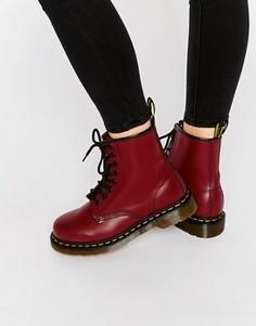 Вишневые ботинки с 8 люверсами Dr Martens - Красный