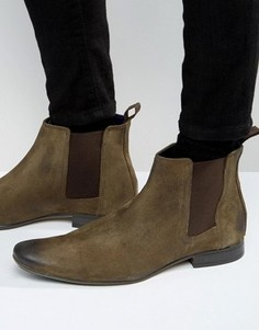 Серо-коричневые замшевые ботинки челси Frank Wright - Коричневый