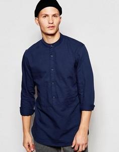 Длинная рубашка классического кроя с горловиной на пуговице ADPT - Синий