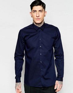 Темно-синяя строгая рубашка узкого кроя из эластичного хлопка Minimum - Темно-синий