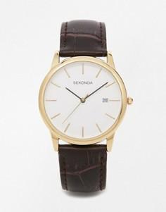 Часы с кожаным ремешком и позолоченной отделкой Sekonda эксклюзивно для ASOS - Коричневый