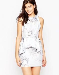 Платье с большой оборкой и цветочным принтом True Violet - Синий