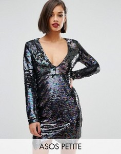 Платье мини с пайетками и запахом ASOS PETITE - Мульти