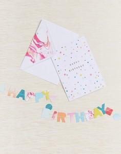 Поздравительная открытка на день рождения с гирляндой Meri Meri - Мульти