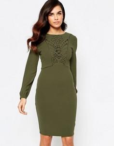 Платье с открытой спиной и лазерной отделкой Amy Childs - Зеленый