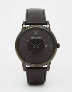 Черные часы с кожаным ремешком Emporio Armani AR1732 - Черный
