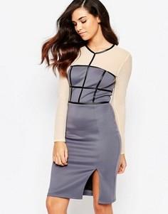 Платье-футляр с сетчатыми рукавами Amy Childs Paige - Фиолетовый