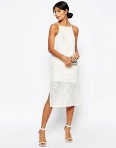 Прямое платье миди из хлопкового кружева ASOS - Кремовый