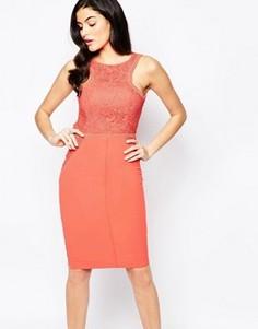 Платье миди с аппликацией кроше Forever Unique - Оранжевый