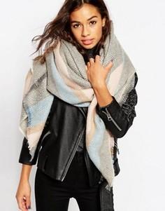 Oversize-шарф из ткани пастельного цвета в елочку ASOS - Мульти