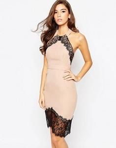 Облегающее платье с асимметричной кромкой Elise Ryan - Коричневый