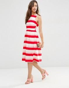 Платье миди в полоску ASOS - Красный