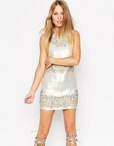 Кружевное платье мини Needle & Thread - Бежевый