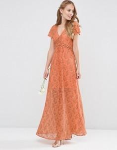 Кружевное платье макси с запахом и завязкой ASOS WEDDING - Оранжевый