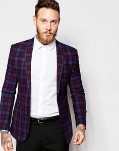 Пиджак скинни с принтом тартан ASOS - Мульти