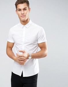 Зауженная белая рубашка с короткими рукавами ASOS - Белый