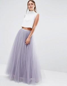 Юбка макси из тюля Little Mistress - Фиолетовый
