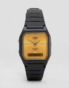 Часы с золотистым циферблатом и черным каучуковым ремешком Casio AW48HE-9A - Черный