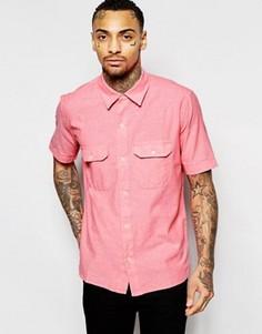 Рубашка классического кроя из шамбре с короткими рукавами American Apparel - Розовый