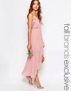 Платье-комбинация с запахом и оборками True Decadence Tall - Розовый
