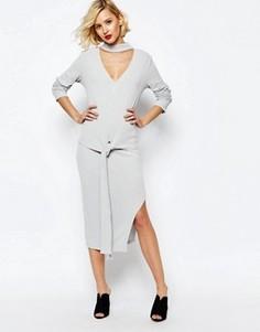 Светло-серая асимметричная юбка миди в рубчик Lavish Alice - Серый