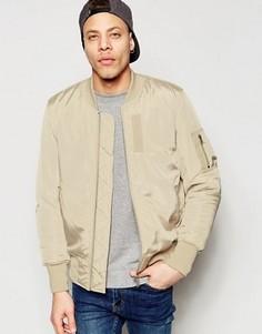 Песочная куртка‑пилот с карманом MA1 от ASOS - Stone