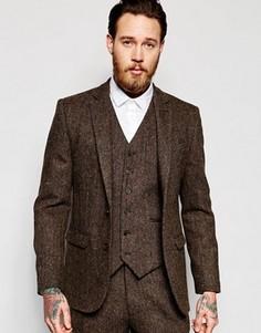 Коричневый твидовый пиджак слим из 100% шерсти ASOS - Коричневый