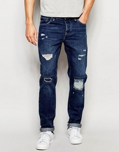 Умеренно-синие рваные джинсы слим ASOS - Синий