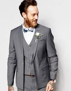 Пиджак зауженного кроя на свадьбу ASOS - Серый