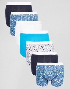 Набор из 7 боксеров-брифов с мелким цветочным принтом ASOS, СКИДКА - Синий