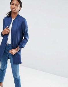 Мягкая удлиненная куртка-пилот ASOS Luxe - Темно-синий