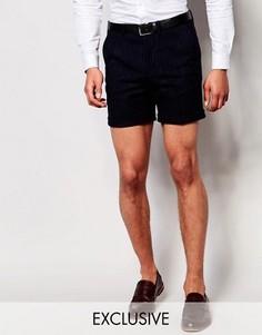 Супероблегающие шорты в тонкую полоску с отворотами Noose & Monkey - Синий