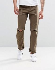 Узкие джинсы стретч цвета хаки с рваными коленками ASOS - Зеленый