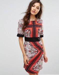 Платье с запахом спереди и поясом оби Closet - Мульти