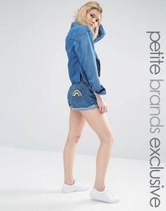 Джинсовые шорты с завышенной талией и радугой из пайеток на задних карманах Liquor & Poker Petite - Синий