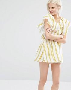 Платье в полоску с рукавами рюшами I Love Friday - Мульти
