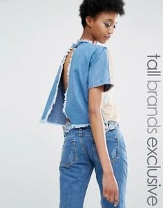 Джинсовая футболка с открытой спиной и пайетками Liquor & Poker Tall - Синий
