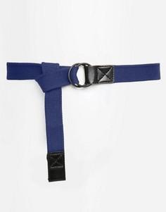 Тканевый длинный ремень темно-синего цвета с черной пряжкой ASOS - Синий