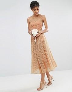 Кружевное платье для выпускного ASOS WEDDING - Розовый