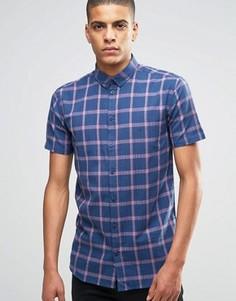 Темно-синяя рубашка слим в клетку с коротким рукавом Minimum - Темно-синий