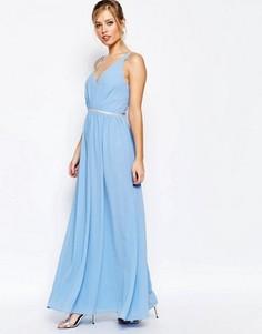 Платье макси из шифона Jarlo - Синий