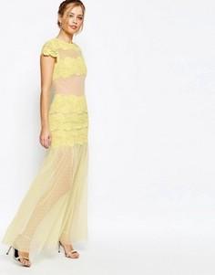 Платье макси с кружевными вставками Jarlo - Желтый