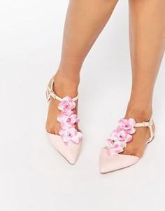 Балетки с острым носком, Т-образным ремешком и отделкой цветами ASOS - Розовый