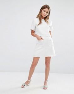 Фактурная мини-юбка с карманами спереди Fashion Union - Кремовый
