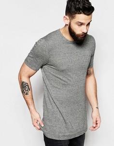 Удлиненная трикотажная футболка горчичного цвета ASOS - Бежевый