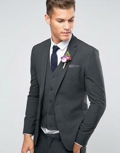 Темно-серый пиджак суперузкого кроя ASOS WEDDING - Серый